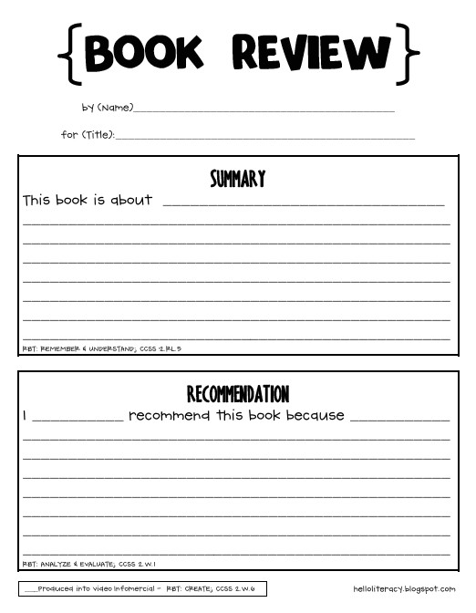 post book review worksheet middle school 59705