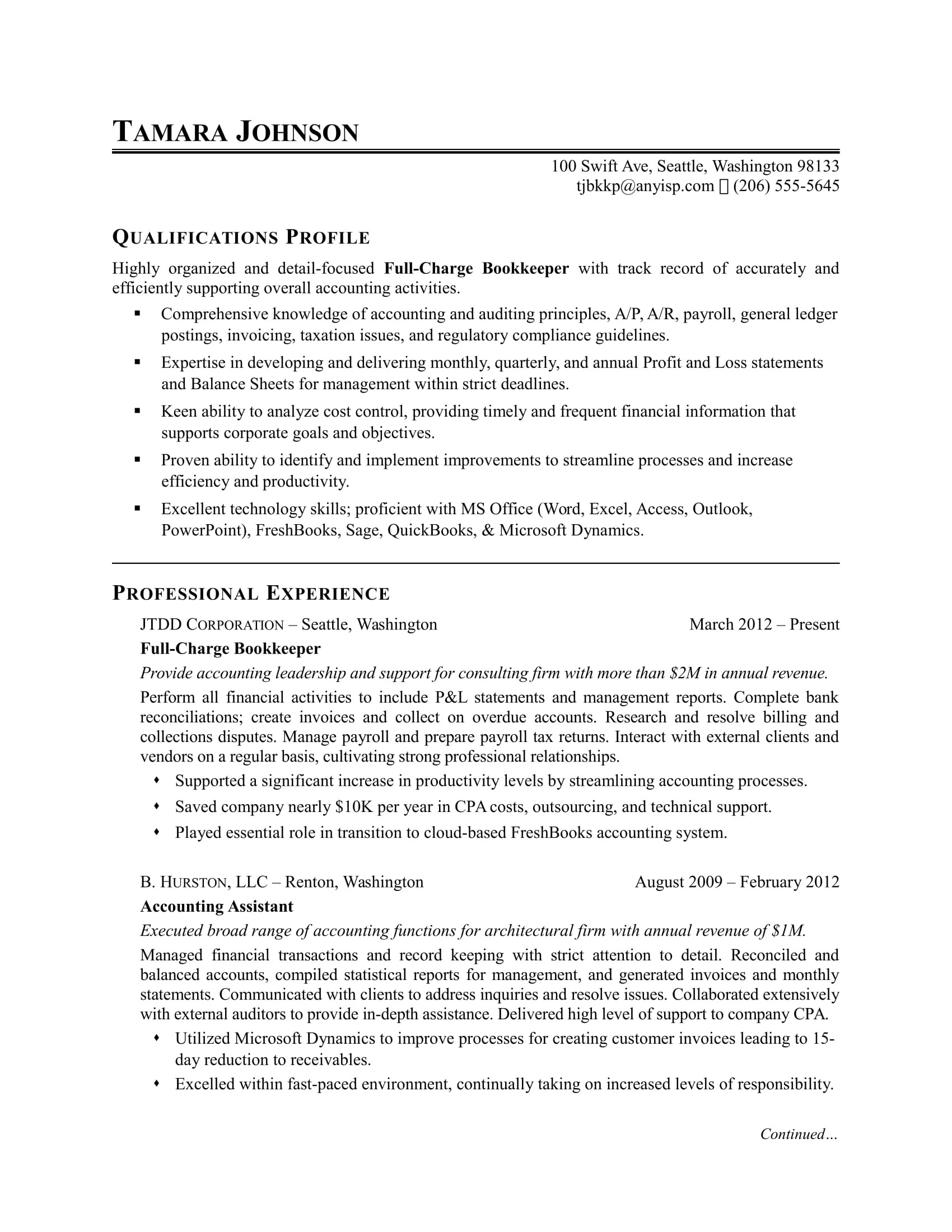sample resume bookkeeper