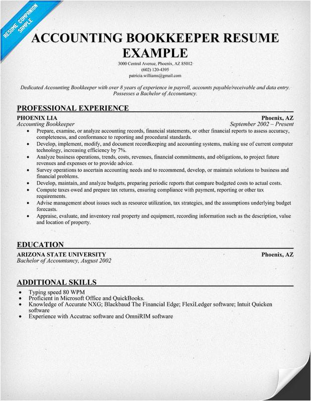 sample bookkeeper resume