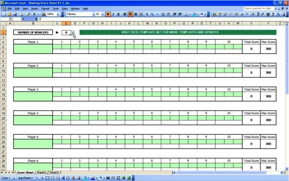 bowling recap sheet template