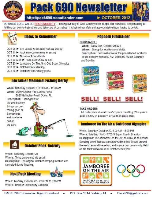 Boy Scout Newsletter Template Public Newsletters Cub Scout Pack 690 Brandon Florida