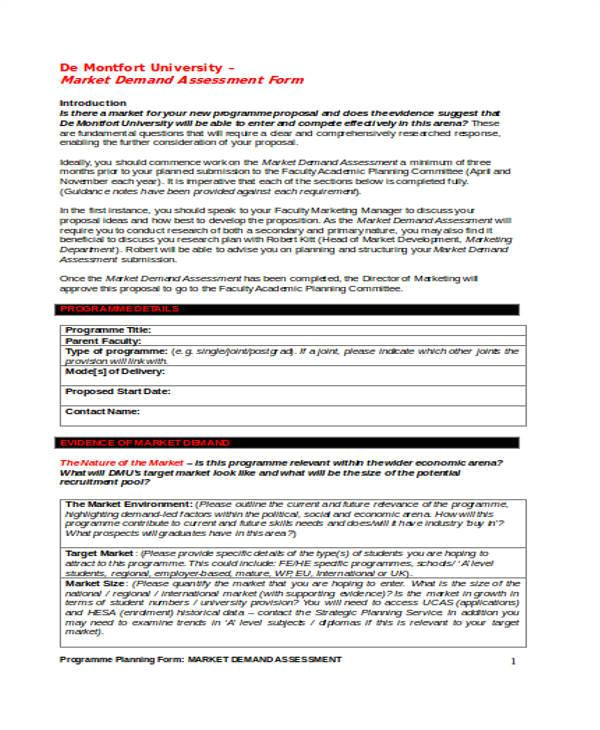 sample marketing assessment form