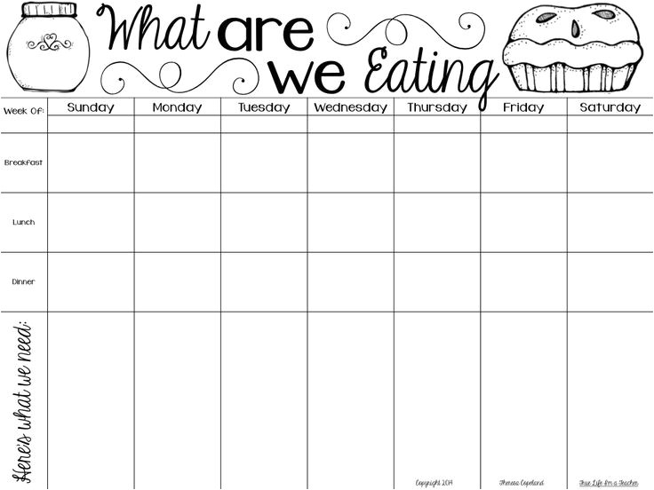 Breakfast Lunch and Dinner Menu Template 5 Best Images Of Meal Planning Guide Printable