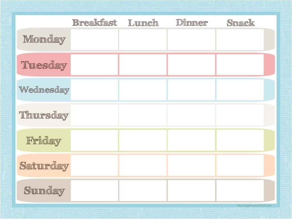 menu planner grocery list printable set