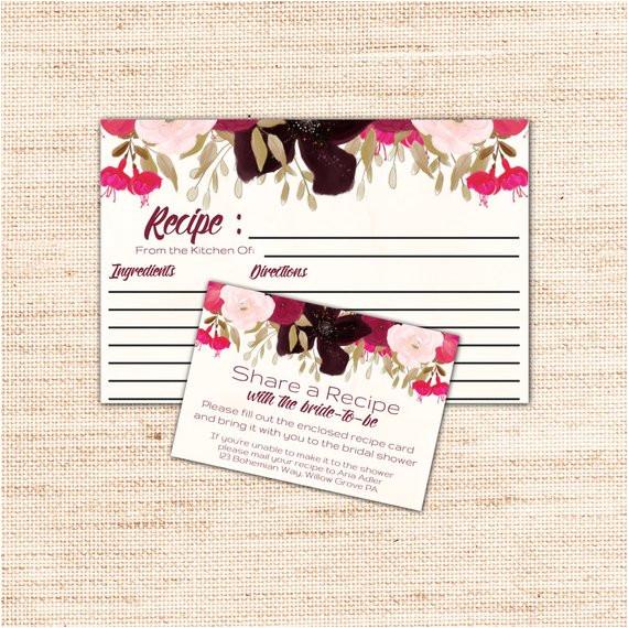 boho bridal shower recipe cards printable