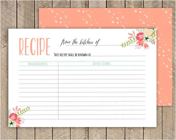 bridal shower recipe card printable