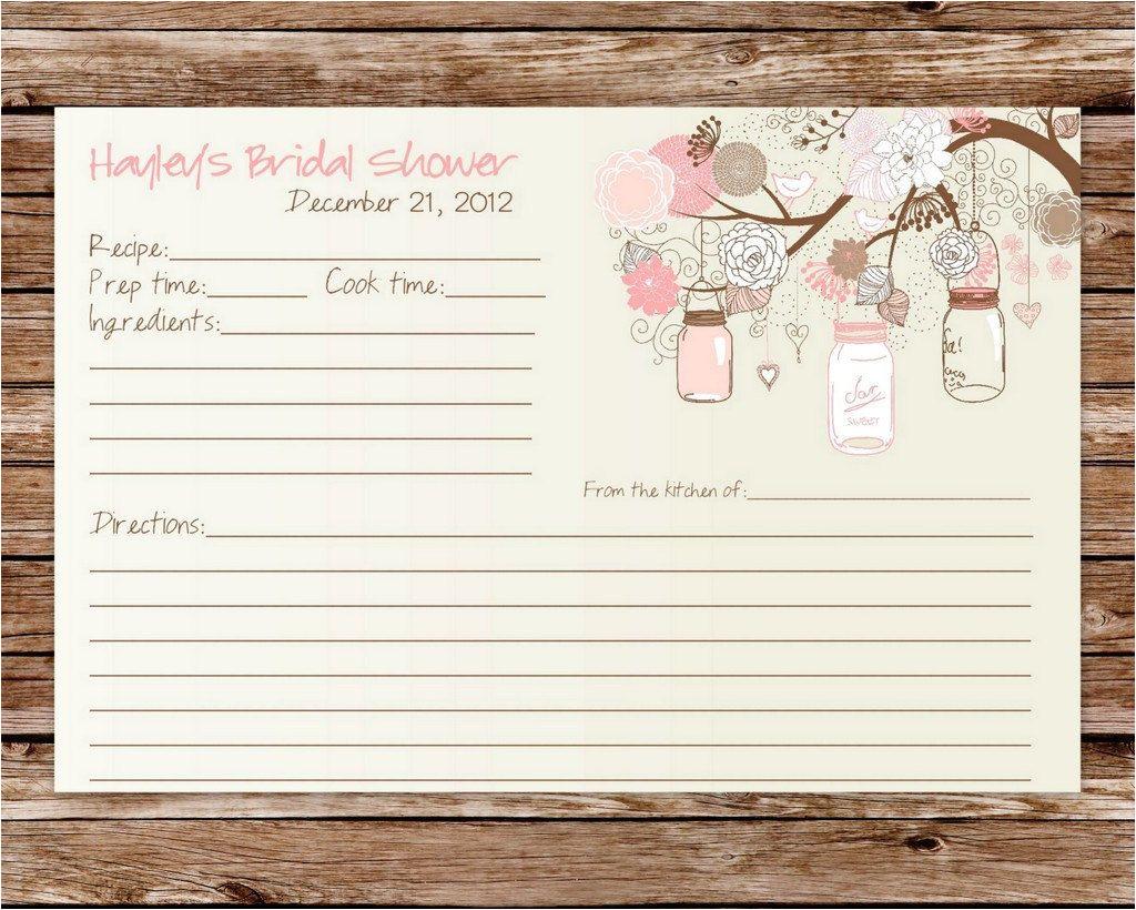 Bridal Shower Recipe Cards Templates Custom Printable Rustic Vintage Mason Jars Bridal Shower