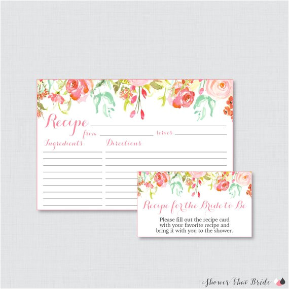 Bridal Shower Recipe Cards Templates Pink Floral Bridal Shower Recipe Cards Printable Flower