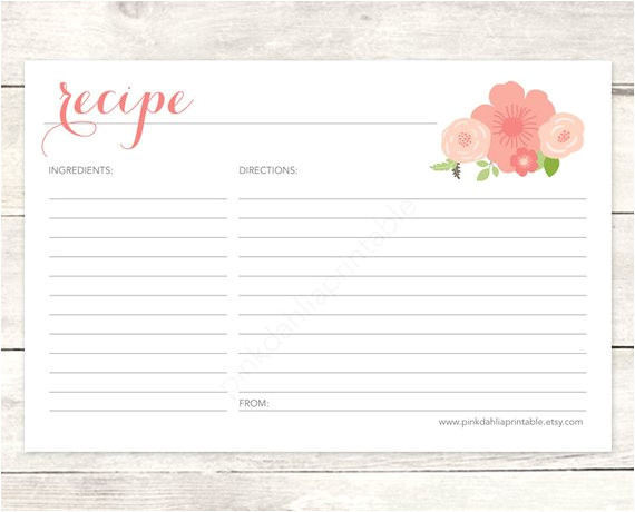 Bridal Shower Recipe Cards Templates Recipe Card Bridal Shower Printable Diy Pink Flowers Floral