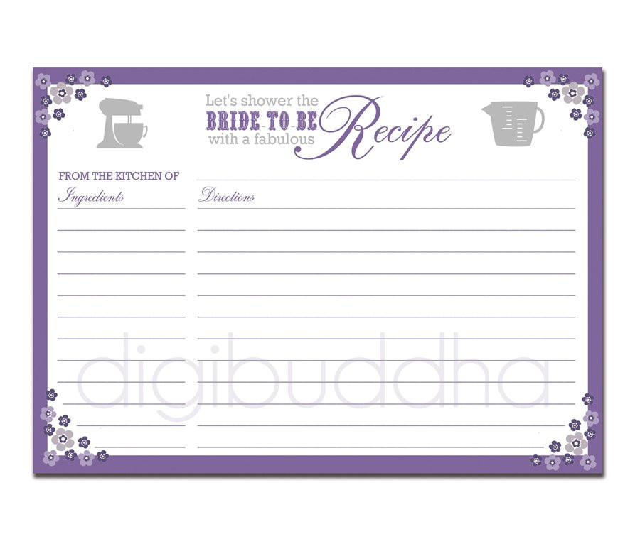 Bridal Shower Recipe Cards Templates Recipe Card Bridal Shower Purple Floral 5×7 4×6 Diy Printable