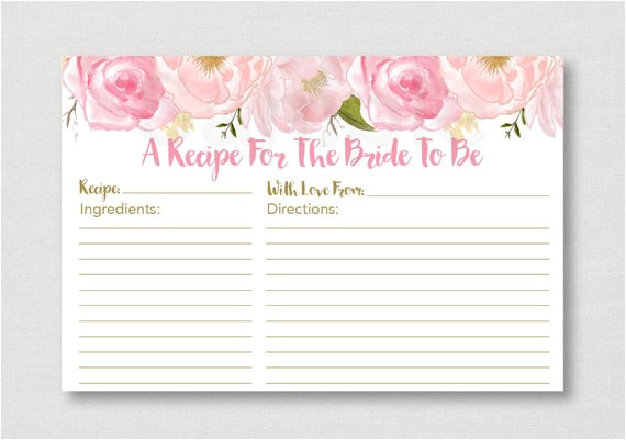 Bridal Shower Recipe Cards Templates soft Pink Floral Bridal Shower Recipe Cards Floral