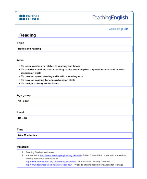 British Council Lesson Plan Template 49 Examples Of Lesson Plans