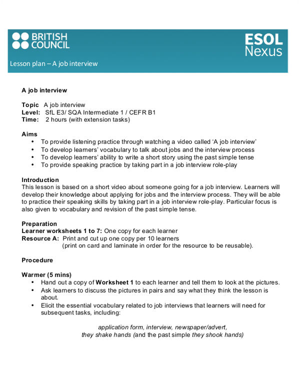 British Council Lesson Plan Template British Council Esol Worksheets Homeshealth Info
