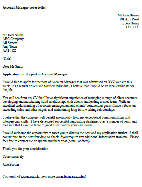 British Cover Letter Examples Account Manager Cover Letter Example Icover org Uk