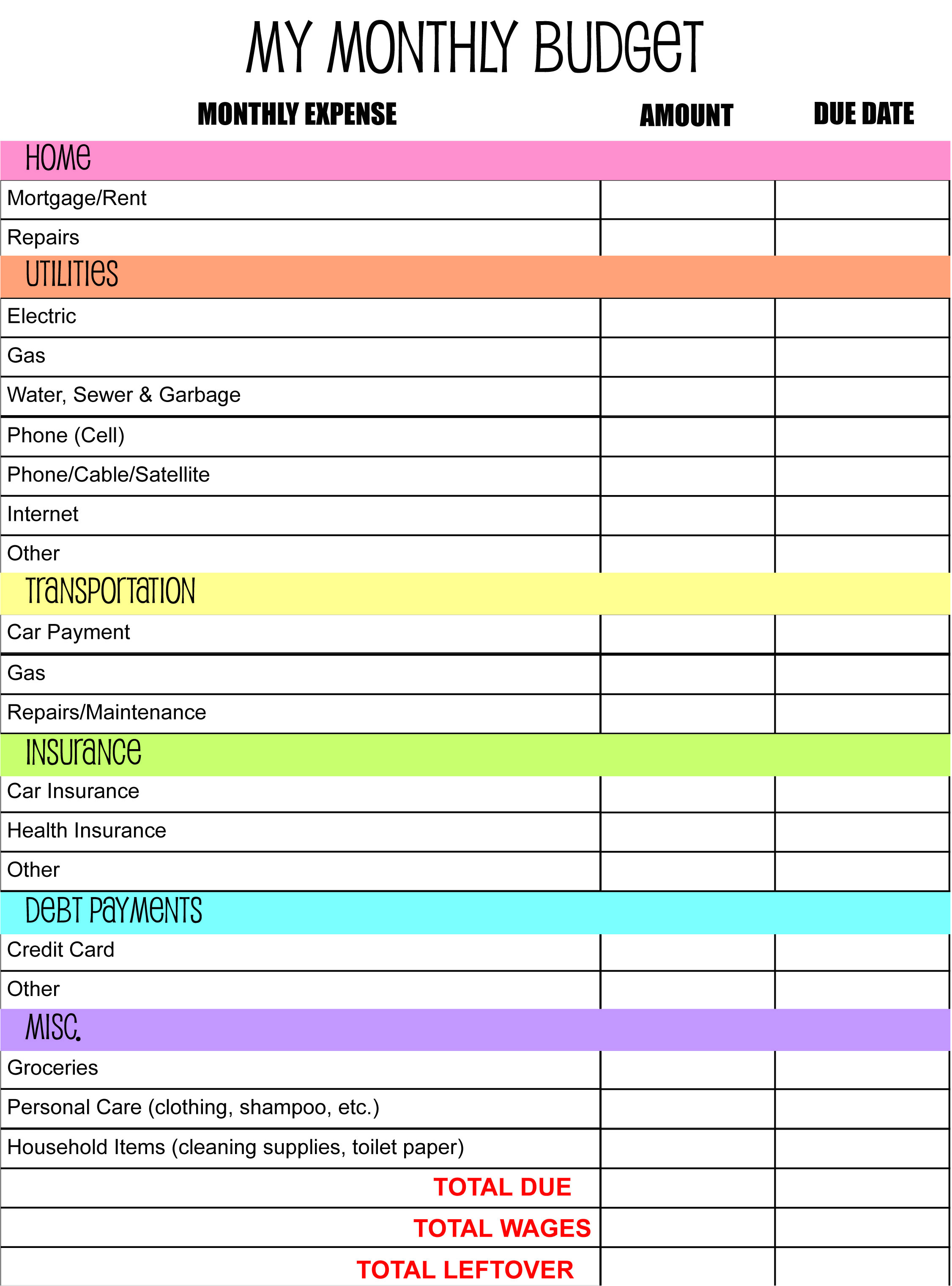 monthly budget planner template 2172