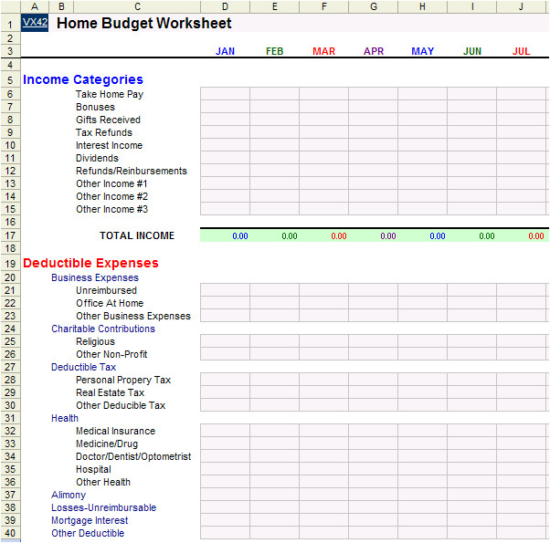 home budget worksheet