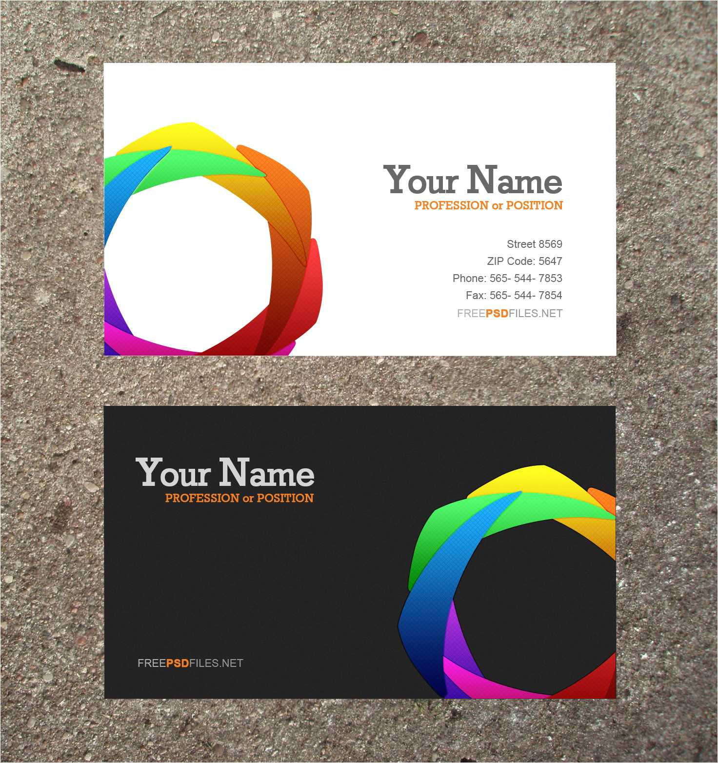 post modern business card psd template free 217436