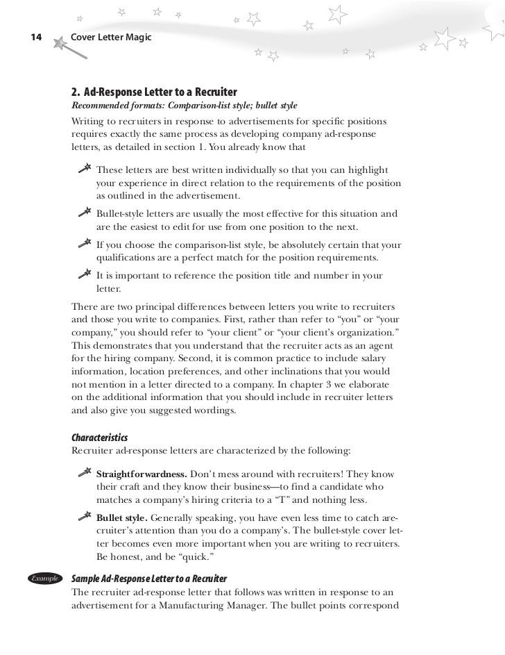 best cover letter bullet points