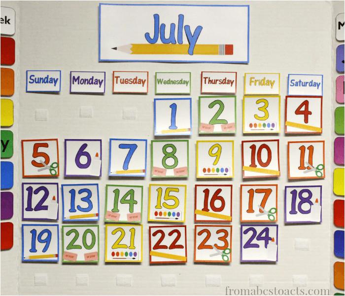 home preschool calendar board