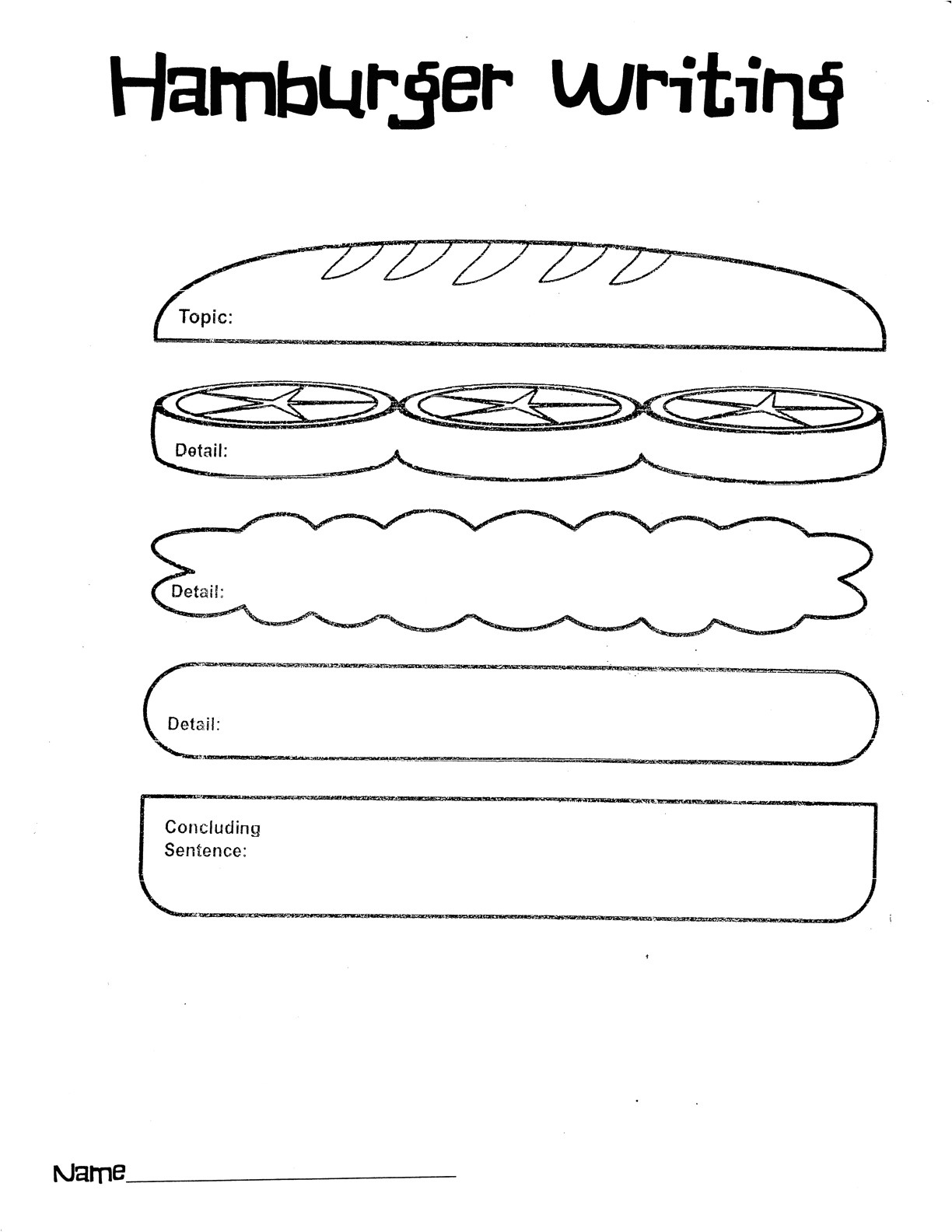 Burger Writing Template 16 Best Images Of Free Printable Paragraph Writing