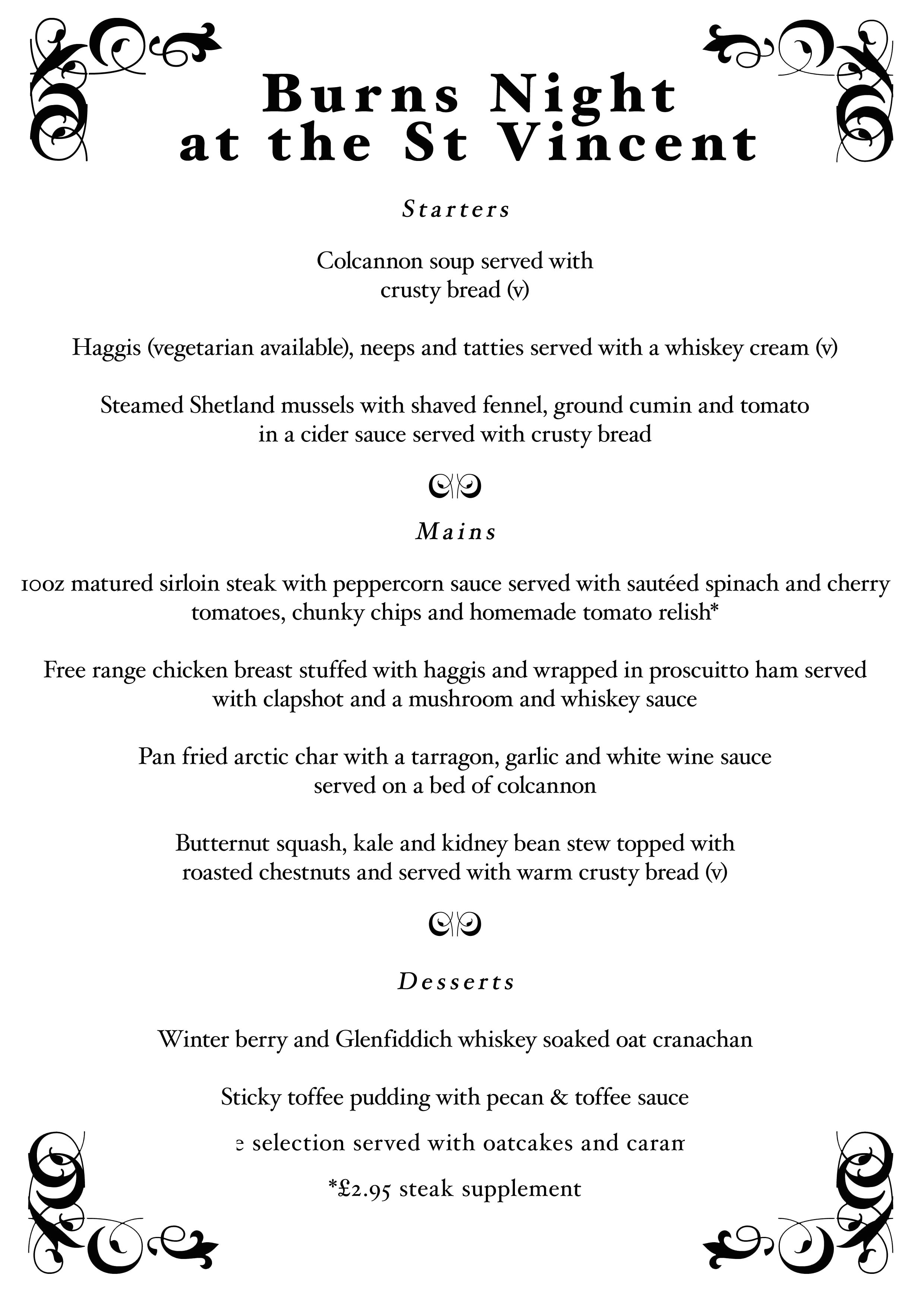 burns night 2011 menu