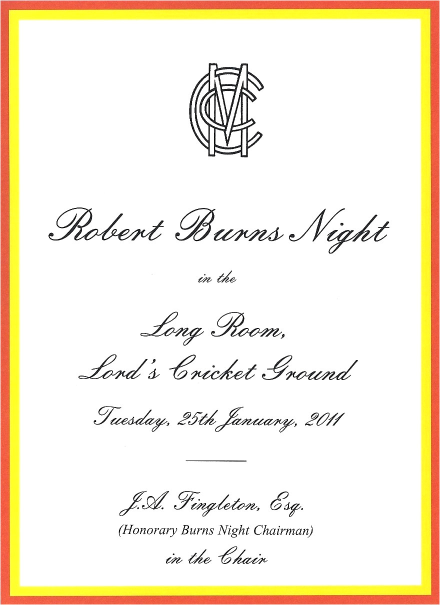burns night at lords