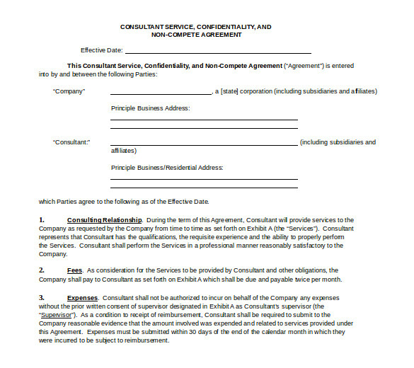 business templates noncompete agreement