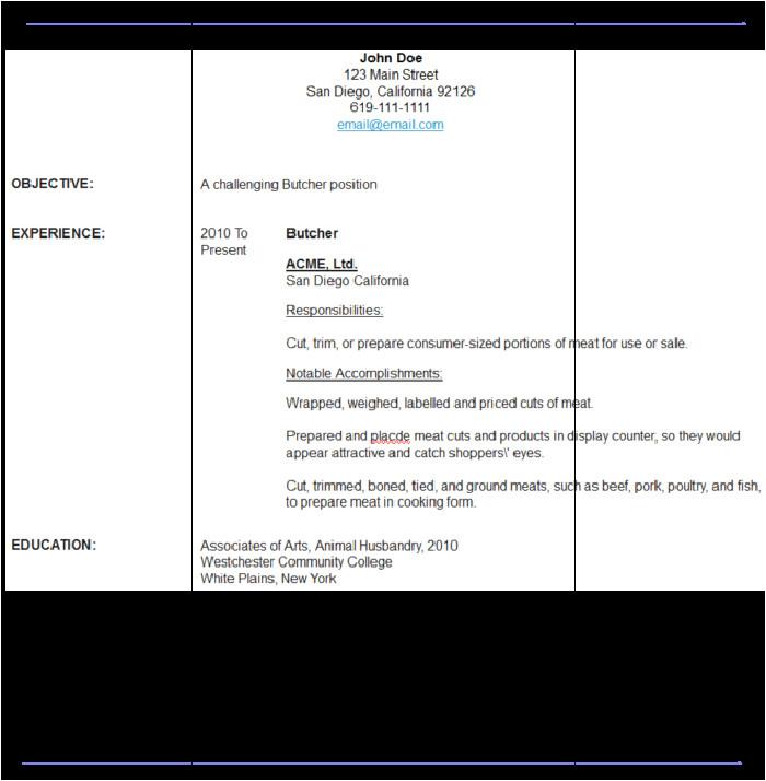 sample butcher resume