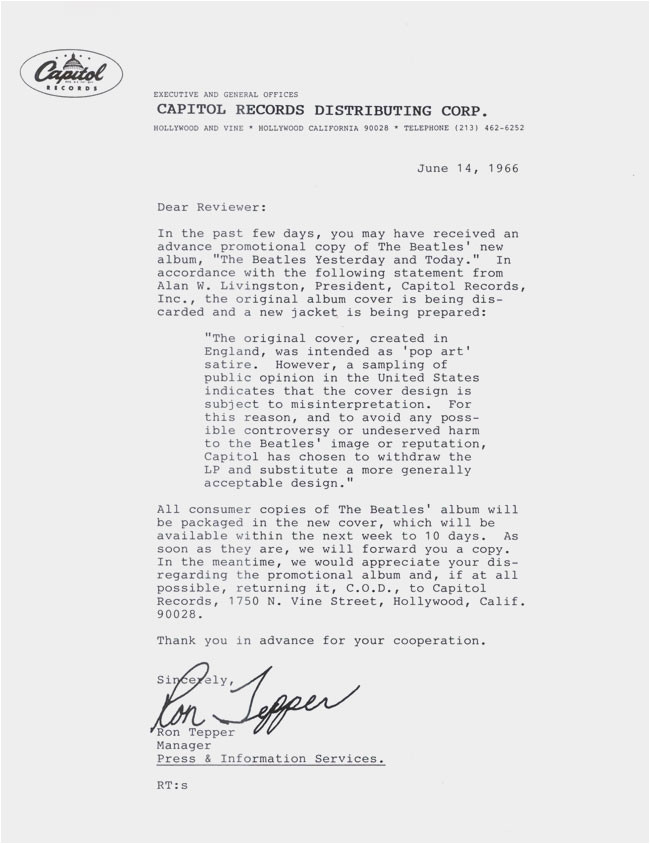 Butcher Cover Letter Yesterday and today United States 1966 About the Beatles