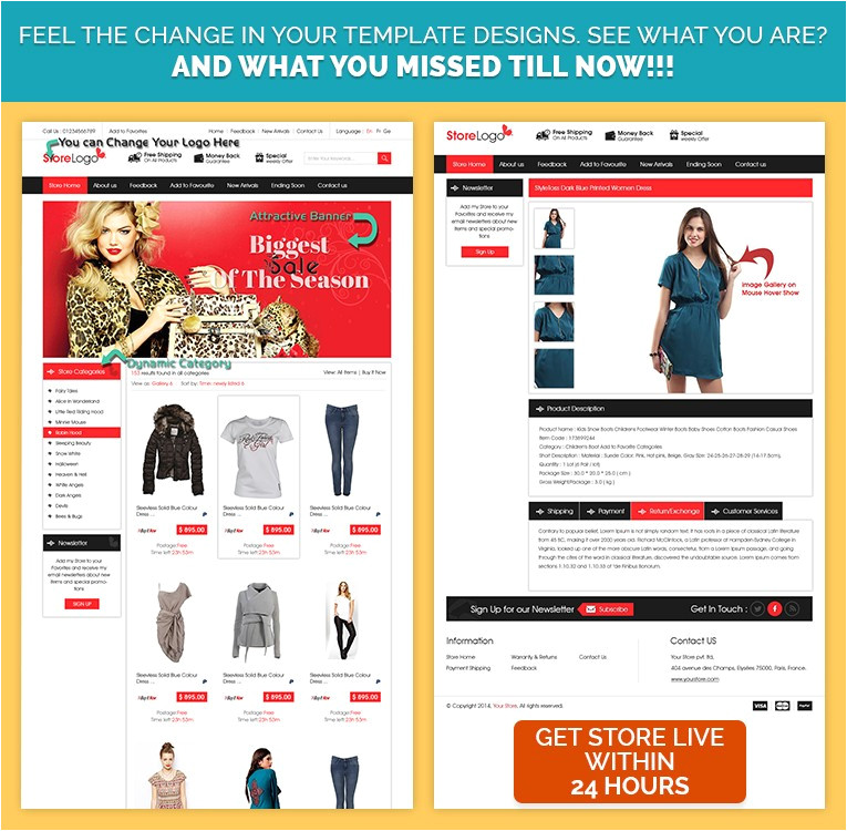 ebay store design templates to sell branded apparels fashion products