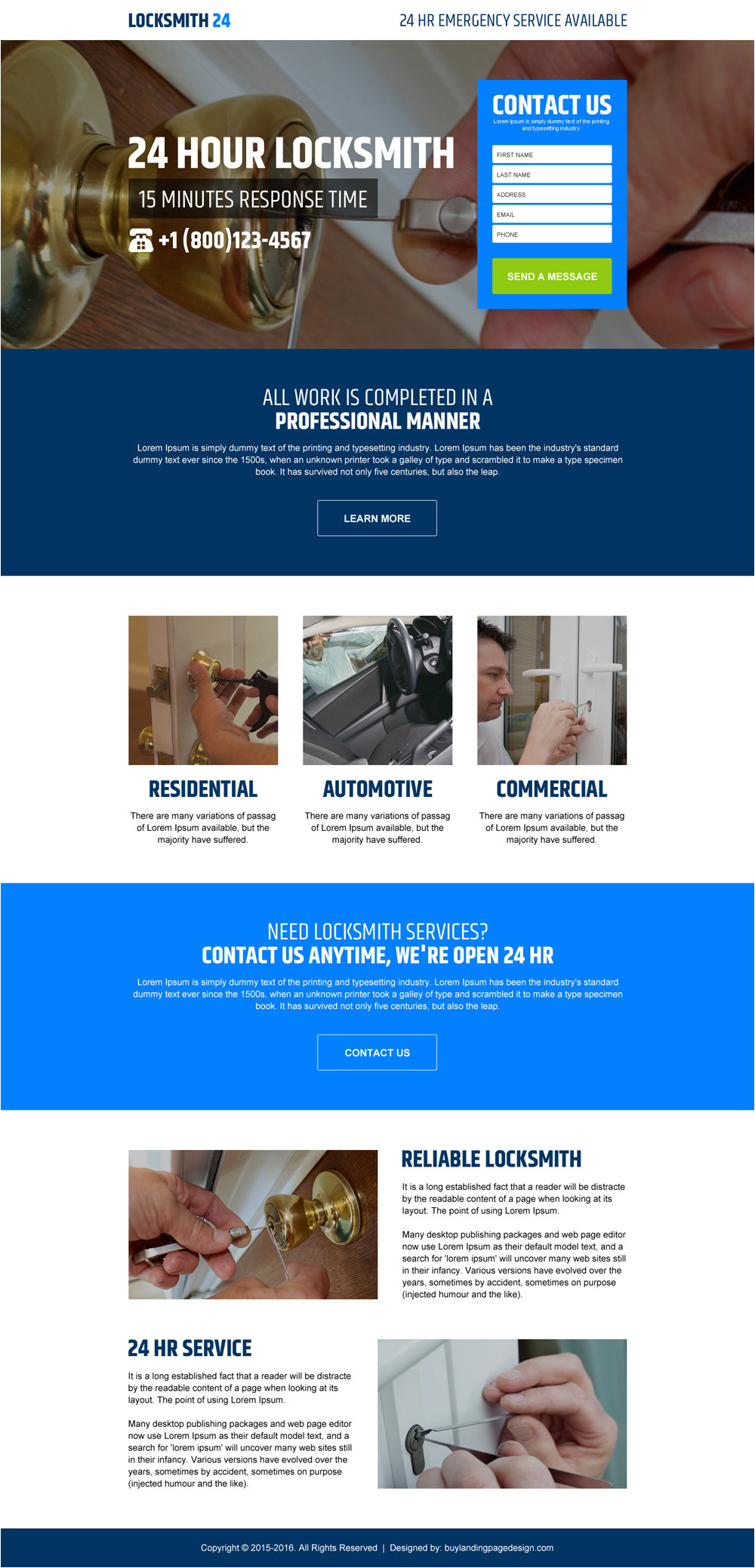 beautiful landing page design templates for locksmith services 2016