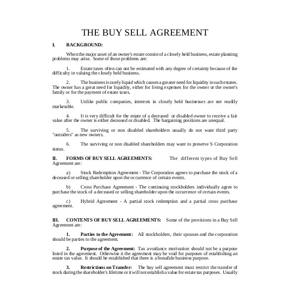 sample buy sell agreement