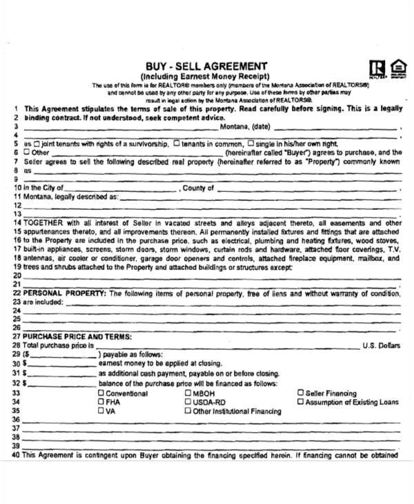 buy sell agreement template montana