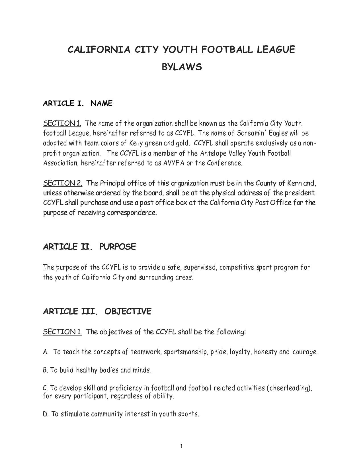 post florida non profit bylaws sample 434101