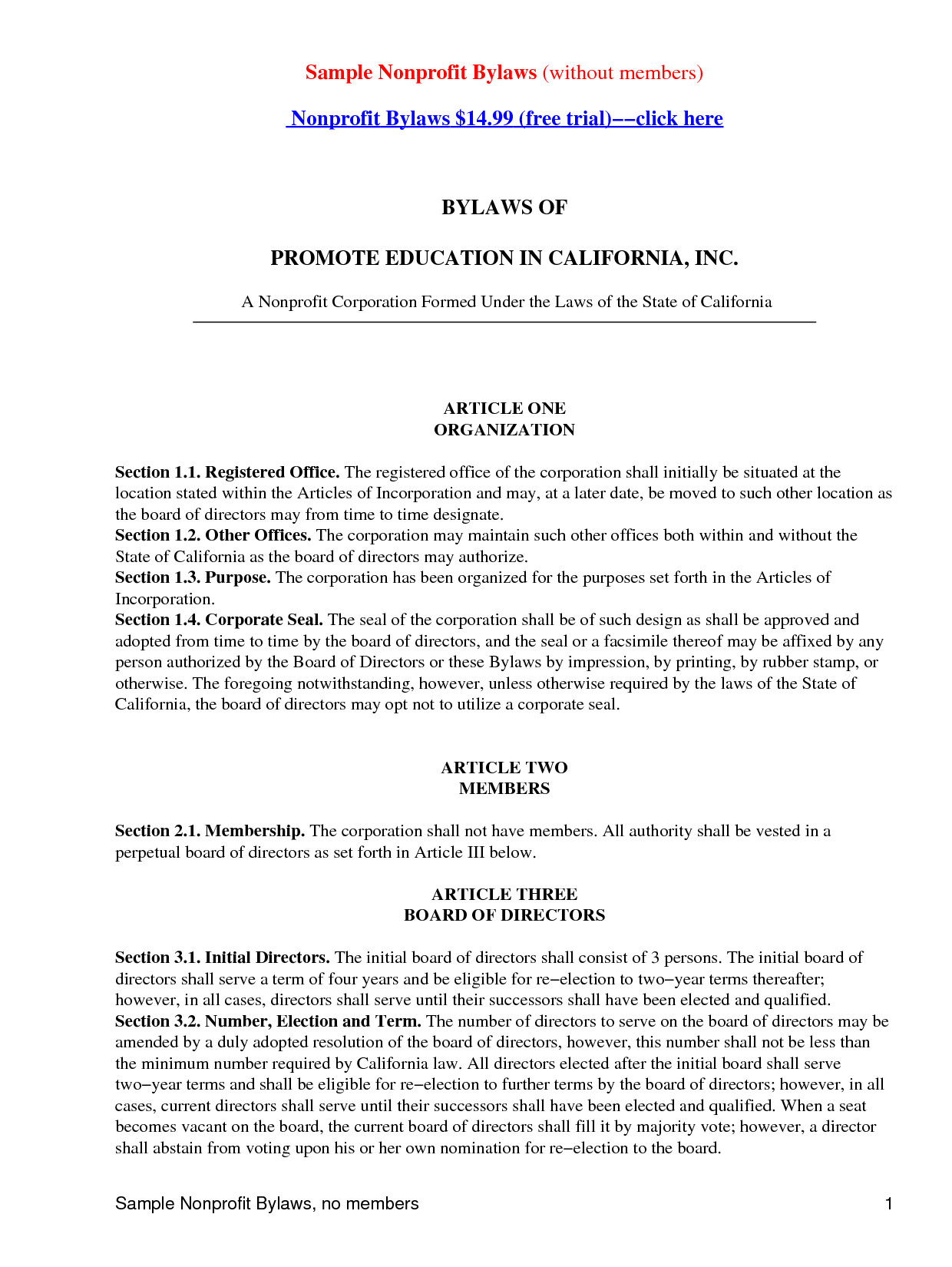 post pa non profit bylaws template 434568