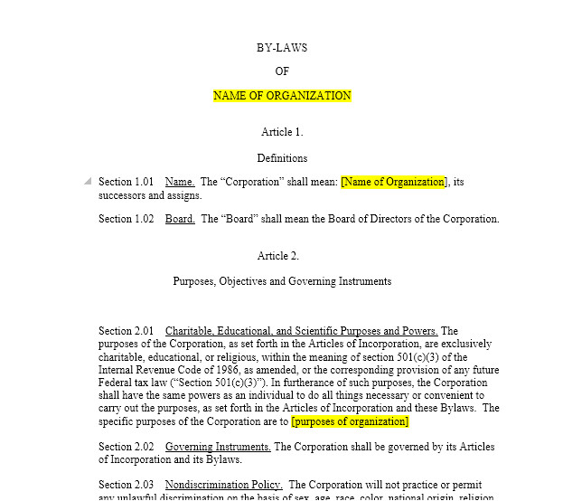 Bylaws for Nonprofit organizations Template Nonprofit bylaws Harbor Compliance
