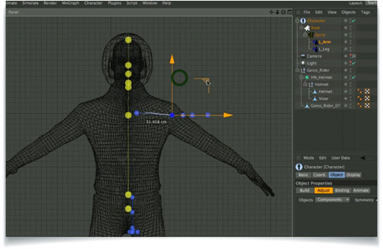 using the advanced biped character template system for cinema 4d r13