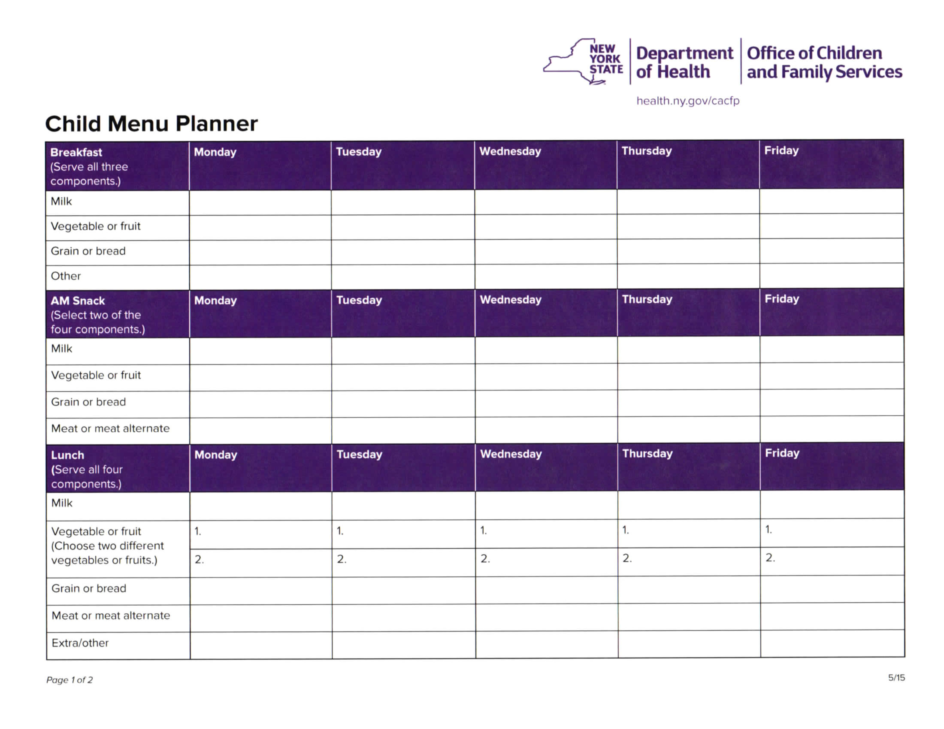 food nutrition information forms