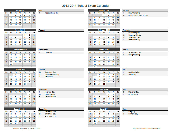 Calendar Of events Template Word School Calendar Template 2018 2019 School Year Calendar