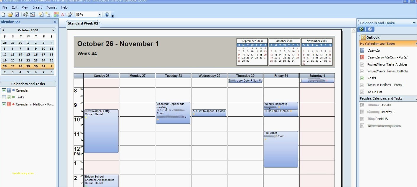 outlook calendar printing assistant 2018