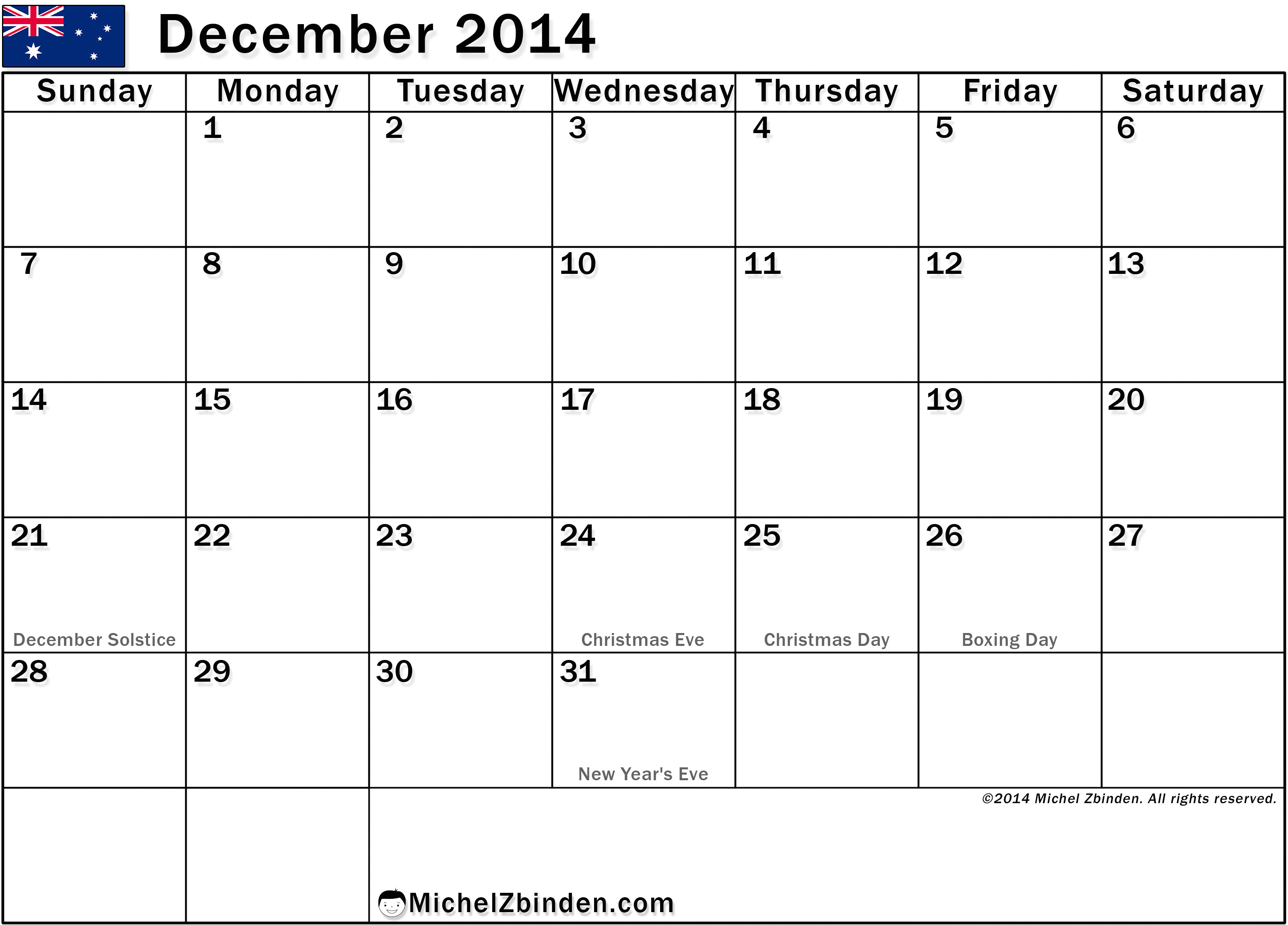 free printing of december 2014 calendar holidays in australia