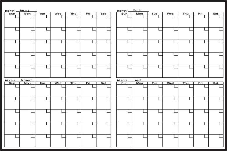 printable 4 month calendar
