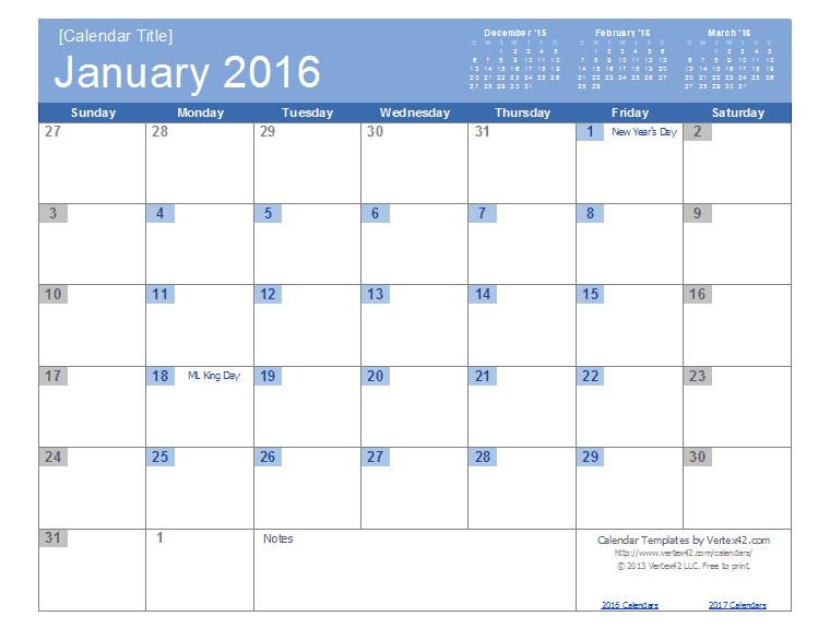 Calendar Template by Vertex42 Com 2016 Calendar Templates and Images