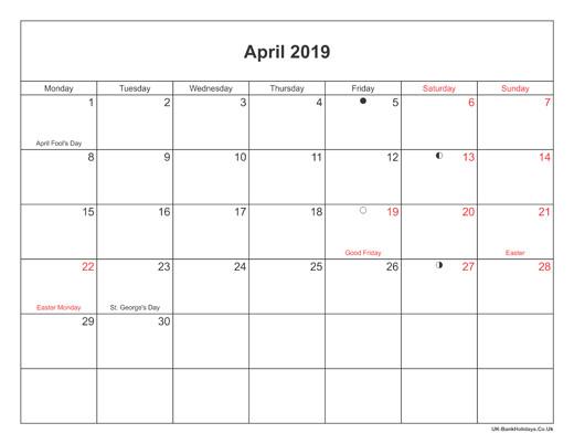 Calendar Template by Vertex42 Com April 2019 Calendar with Holidays Uk Monthly Printable
