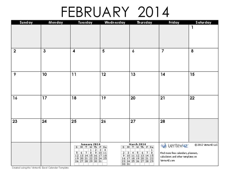 excel calendar 2014