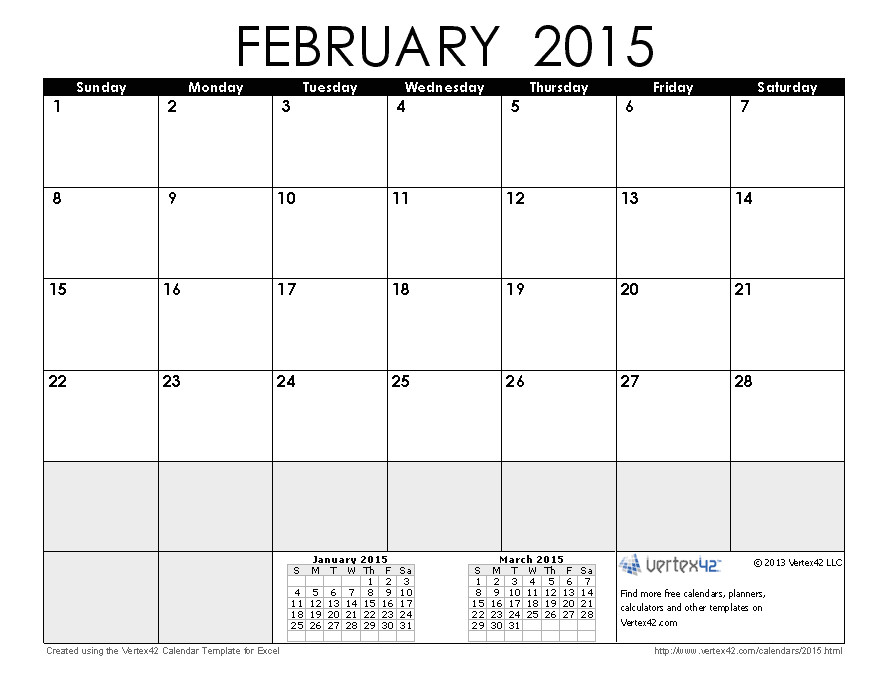 post february march 2015 printable calendars by month 65461