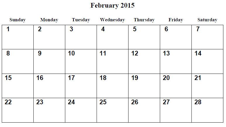 Calendar Template for February 2015 8 Best Images Of Free Printable February 2015 Calendar