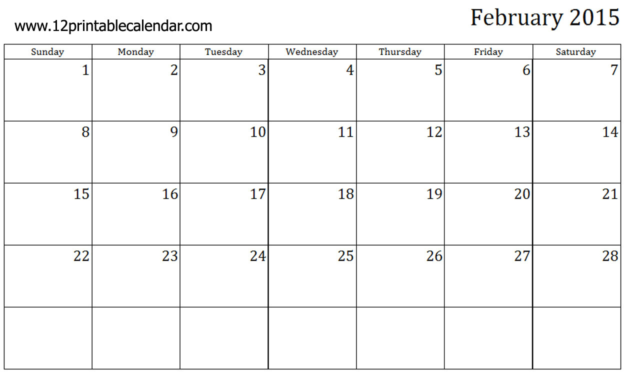 Calendar Template for February 2015 8 Best Images Of Free Printable February 2015 Calendar