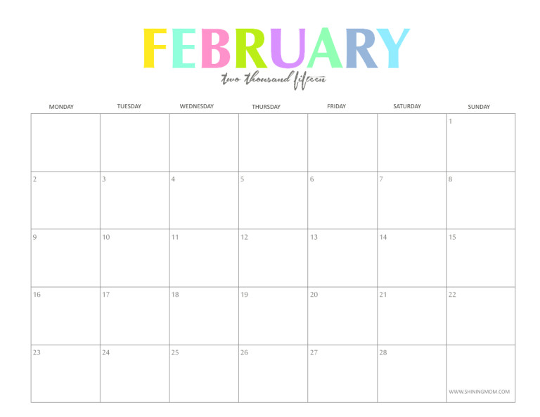 Calendar Template for February 2015 the Colorful 2015 Monthly Calendars by Shiningmom Com are