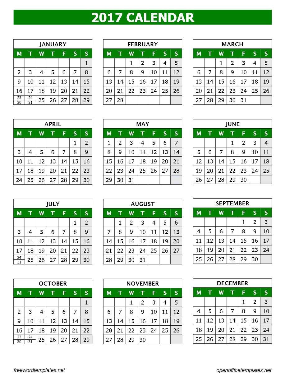 Calendar Template for Openoffice 2017 Calendar Template Open Office Templates